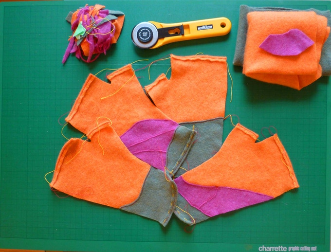 The mitts during sewing and assembly - almost done!
