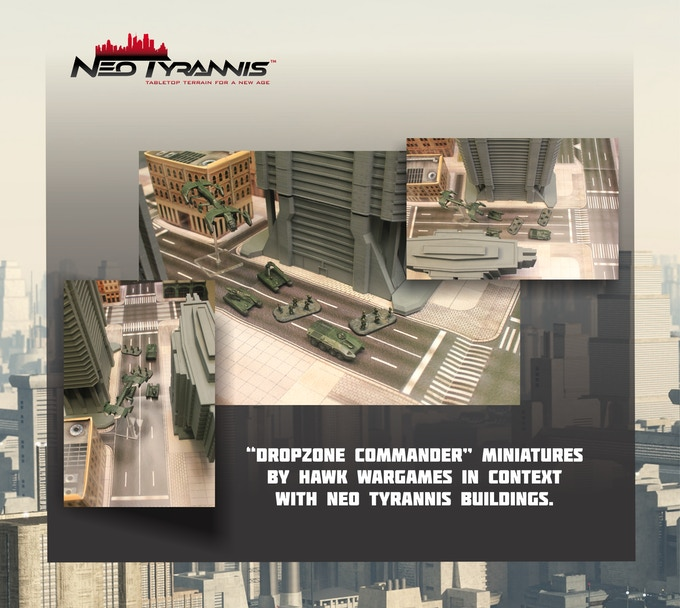 Miniatures, play mat and card stock buildings from Hawk Wargames