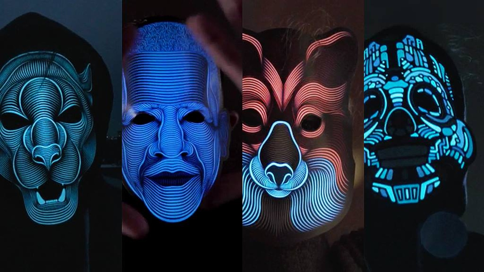 An electro-luminescent mask for art and music lovers, back with 8 new designs.