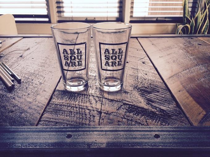 All Square pint glasses