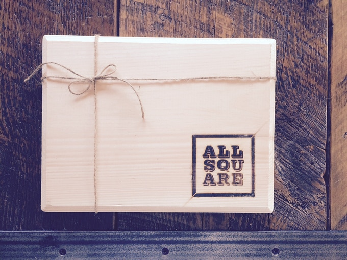 All Square wooden hand-branded cutting board