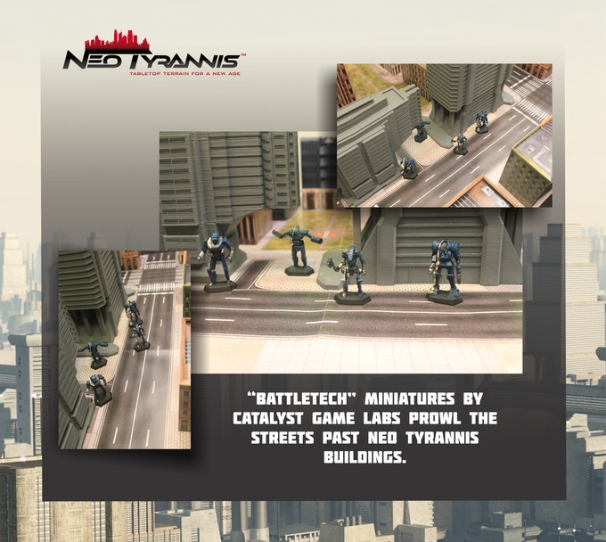 """Miniatures by Catalyst Game Labs for """"Battletech"""", play mat and card stock buildings from Hawk Wargames"""