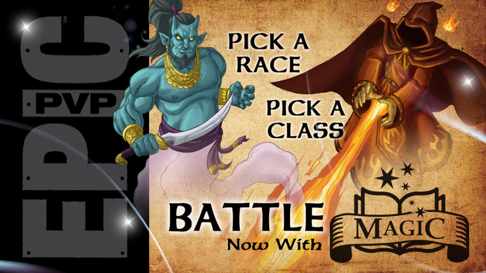 Pick a magic Class a magic Race, shuffle and battle with this stand-alone game that is 100% compatible with Epic PvP: Fantasy.