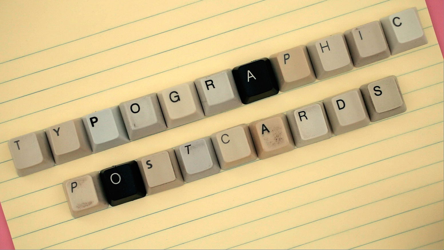 """This project is about creating the 27th Typographic Postcard/Sticker that says """"I WAS HERE"""" set in used keyboard keys."""