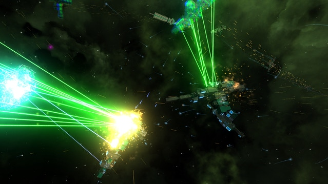 A battle between multiple carriers and fighters