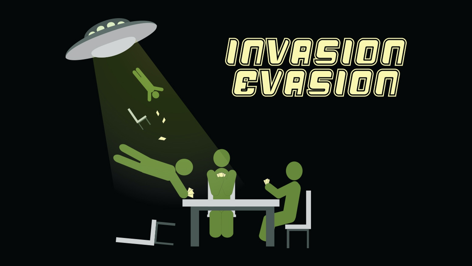 Invasion Evasion is a party game that captures the paranoia and fear of being caught in the midst of an alien attack.