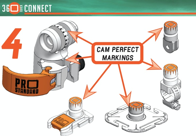 Line up the Cam Perfect Pointer on the camera mount with the desired Cam Perfect Marking on the mounting stud. Simply take note of the settings so you can quickly recreate the camera position, with or without the GoPro app.