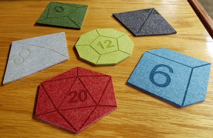Here is an expample of the Polyhedral Dice Set in 6 colors.