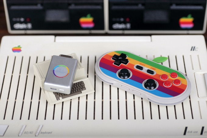 The entire set is designed as an homage to the original Apple II computer.