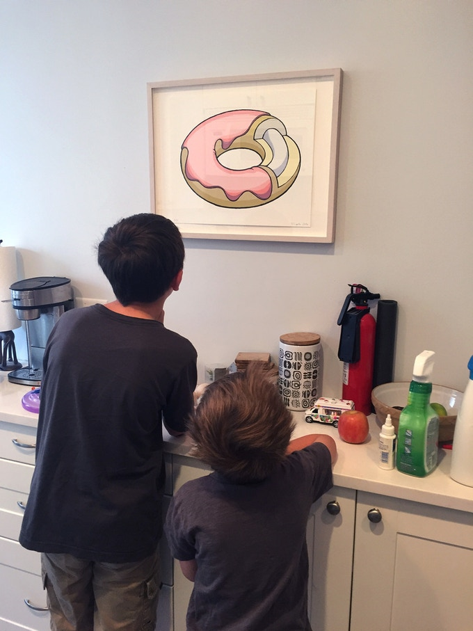 The Donut Diagram silkscreen and two hungry admirers