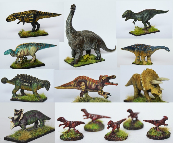 You can grab these dinosaurs from Magister militum bt the biggest dude is from Tobar, a toy company!