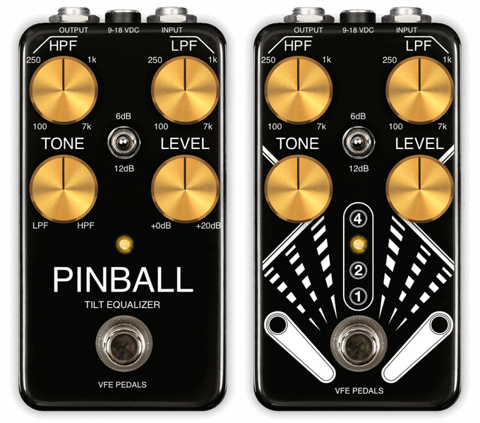 The Pinball tilt equalizer is available in two different graphic styles.