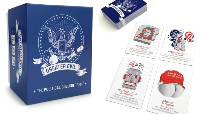 "Politics meets ""Bullshit"" in this card game of lies, liars, and insane presidential candidates. Be the greater evil."