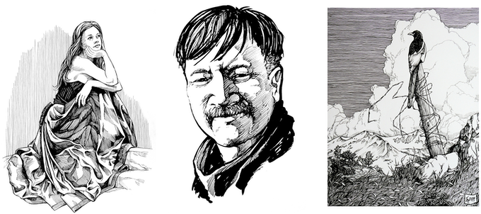 Glenn Mayer (self-portrait, center), and two of his pen-and-ink illustrations (left and right).