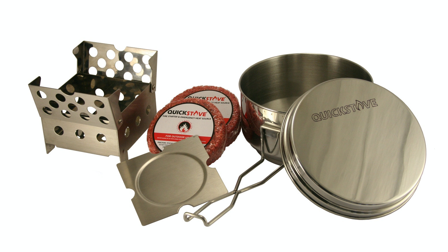 A Survival Cook Kit with Stove, Pot and Fire Starters. Ideal for camping, outdoors and emergency prep.