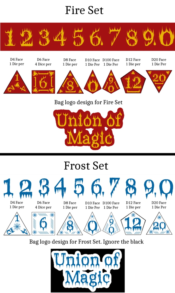 Fire and Ice Dice designs