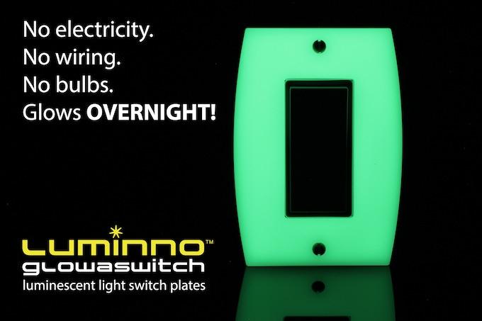 No electricity. No wiring. No bulbs. Glows OVERNIGHT! (Rocker version plate shown)