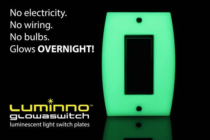 No electricity. No wiring. No bulbs. Glows OVERNIGHT! (Rocker version plate shown)