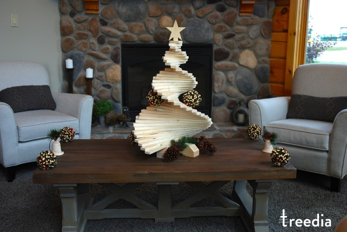 large treedia tree on a coffee table