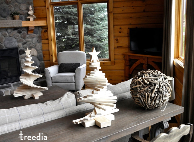 three sizes of the treedia  trees in a living room