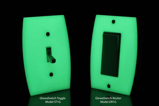 2 versions of LUMINNO GlowaSwitch Switch Plates: Toggle and Rocker (light switches not included)