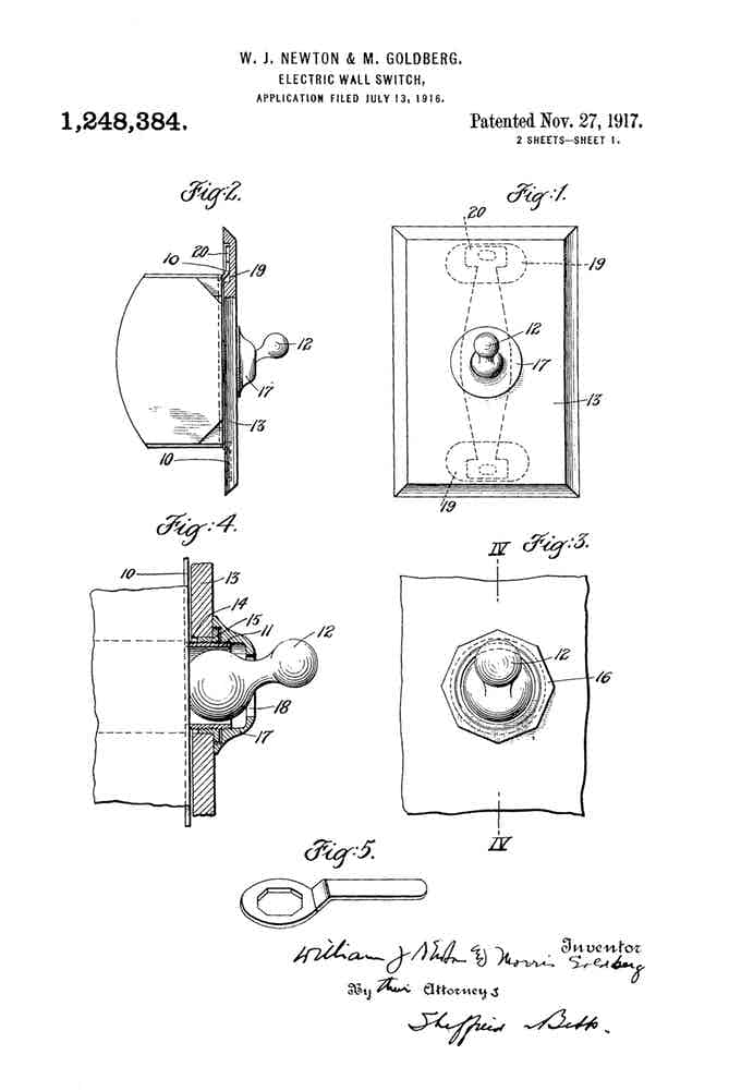 Original Toggle Light Switch Patent Application Drawings 1916