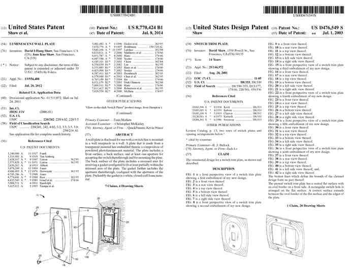 LUMINNO GlowaSwitch holds BOTH U.S. Utility and Design Patents