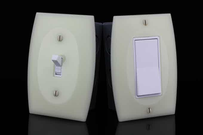 GlowaSwitch switch plates have an ivory color when charging in daylight (light switches not included)