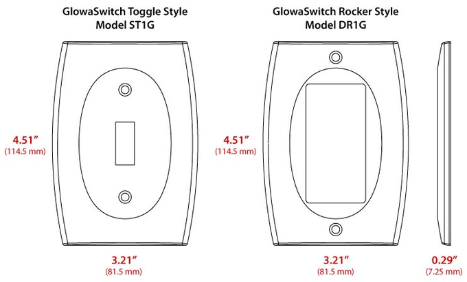 LUMINNO GlowaSwitch replaces Standard Toggle (left) and Decorator Rocker (right) light switch plates commonly used in USA and Canada