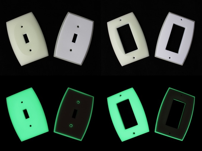 GlowaSwitch front and back (showing foam) appearance in light (top) and glowing in the dark (bottom)