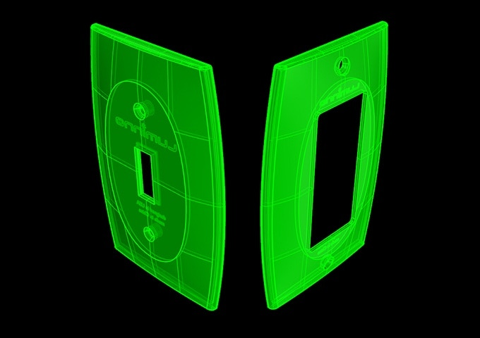 3D CAD wireframe showing GlowaSwitch's patented convex design