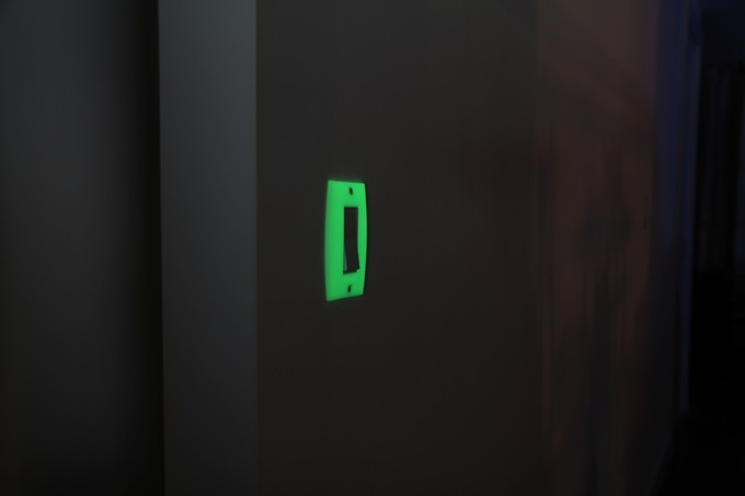 GlowaSwitch switch plates are visible from afar at any angle