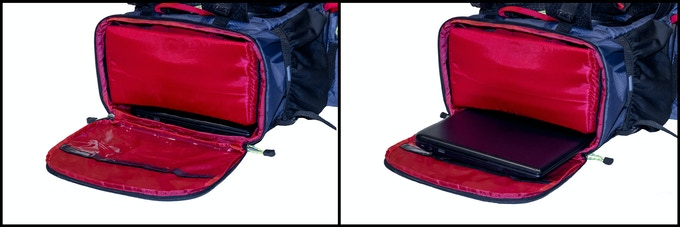 "Two storage sleeves fit laptop up to 16"" x 10.5"""