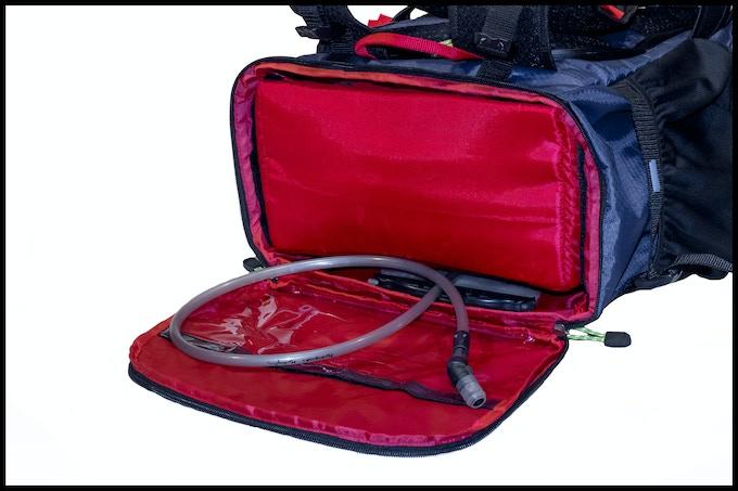 Water bladder sleeve holds up to 2 liter bladder (70 oz.)