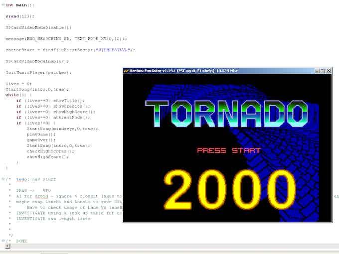 The emulator running in windows