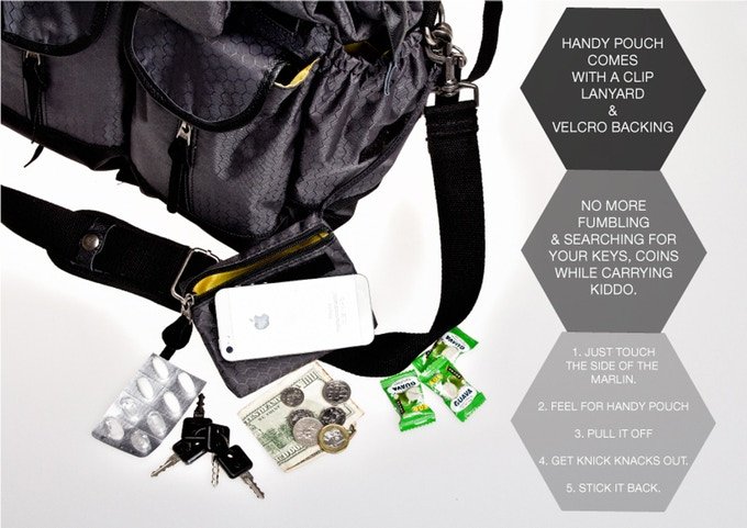 handy stick-on pouch with lanyard