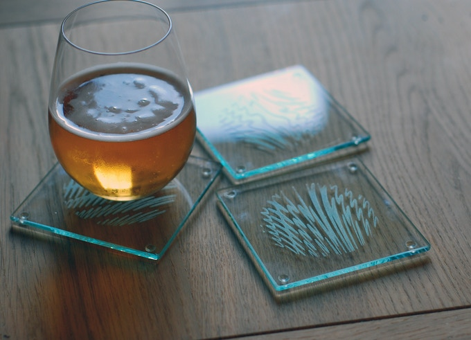 Laser etched glass coaster