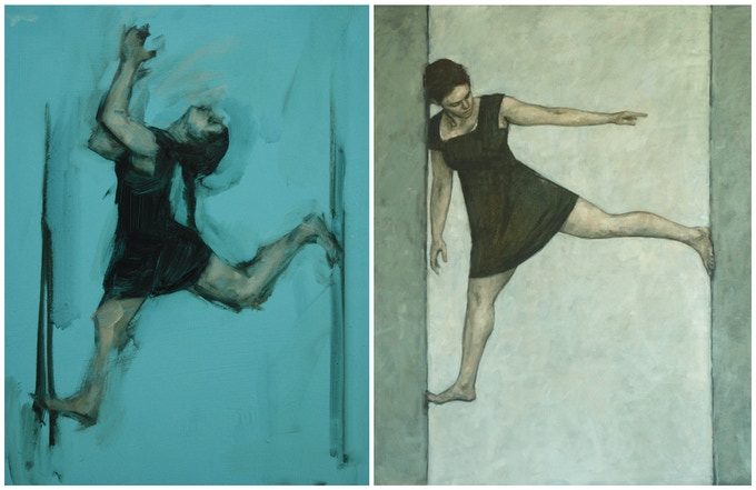 Angharad Harrop 4 (oil on panel, 18cm x 23cm) and FreeHaus 1 (oil on canvas, 110cm x 130cm), 2016