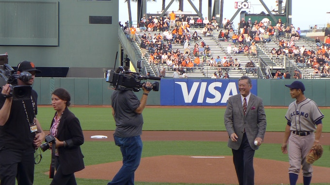 Mashi being honored by the SF Giants for the 50th Anniversary of his debut as first Japanese Major Leaguer. ©2016, Monica Lee Photography.