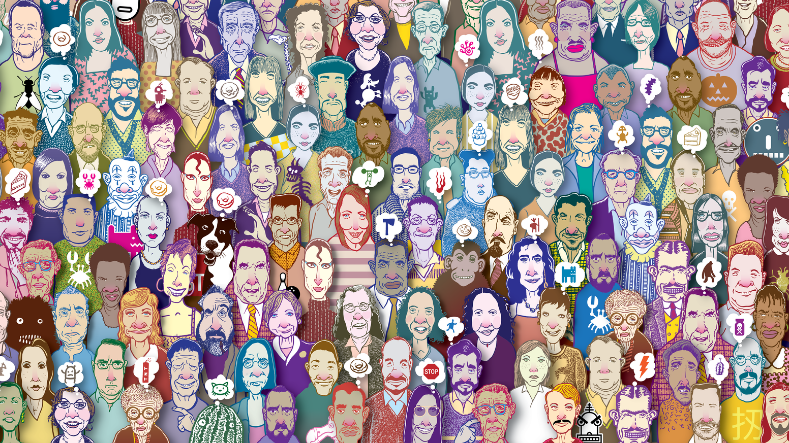 Can you find the twins, clones, look-alikes, and doppelgängers in this crowd of 300 faces from Don's notebook?