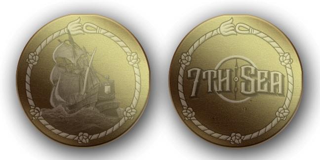 """Gold Doubloon (1.5""""metal)— *art & design not final*"""