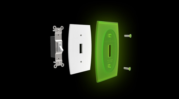 Translucent glowing switch plate with fire retardant, retroreflective, air draft insulating foam seal gasket (light switch not included)
