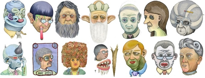 """Teachers from Memory"" portraits - click for larger versions and little stories behind each one"