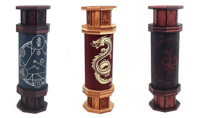 Crafted in any woods we've got with access to exclusive cap art. Shown (L-R): Purpleheart and Walnut, silver Spellcircle on lapis leather. Cherry and Maple, gold Serpent on crimson leather. Bloodwood and Wenge, ochre Elvish art on onyx leather.