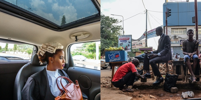 Left: Ginika is on her way to join thousands of Nigerian law graduates called to bar in Abuja, Nigeria. By Tom Saater @tomsaater. Right: An accountant gets his shoes shined on his way to work in Conakry, Guinea. By Ricci Shryock @ricci_s.
