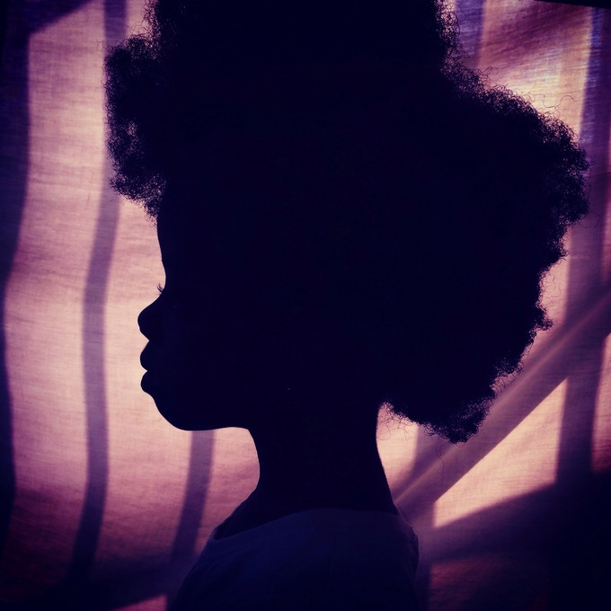 "10"" print option 1: Afro on purple. Silhouette of my daughter. Accra, Ghana. Photo by Nana Kofi Acquah @africashowboy"