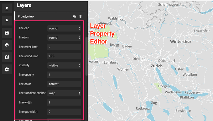 Prototype of layer property editor