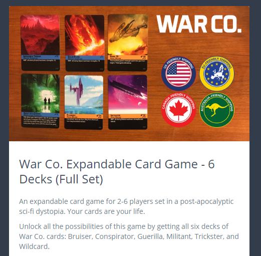 War Co  Expandable Card Game by Brandon Rollins — Kickstarter