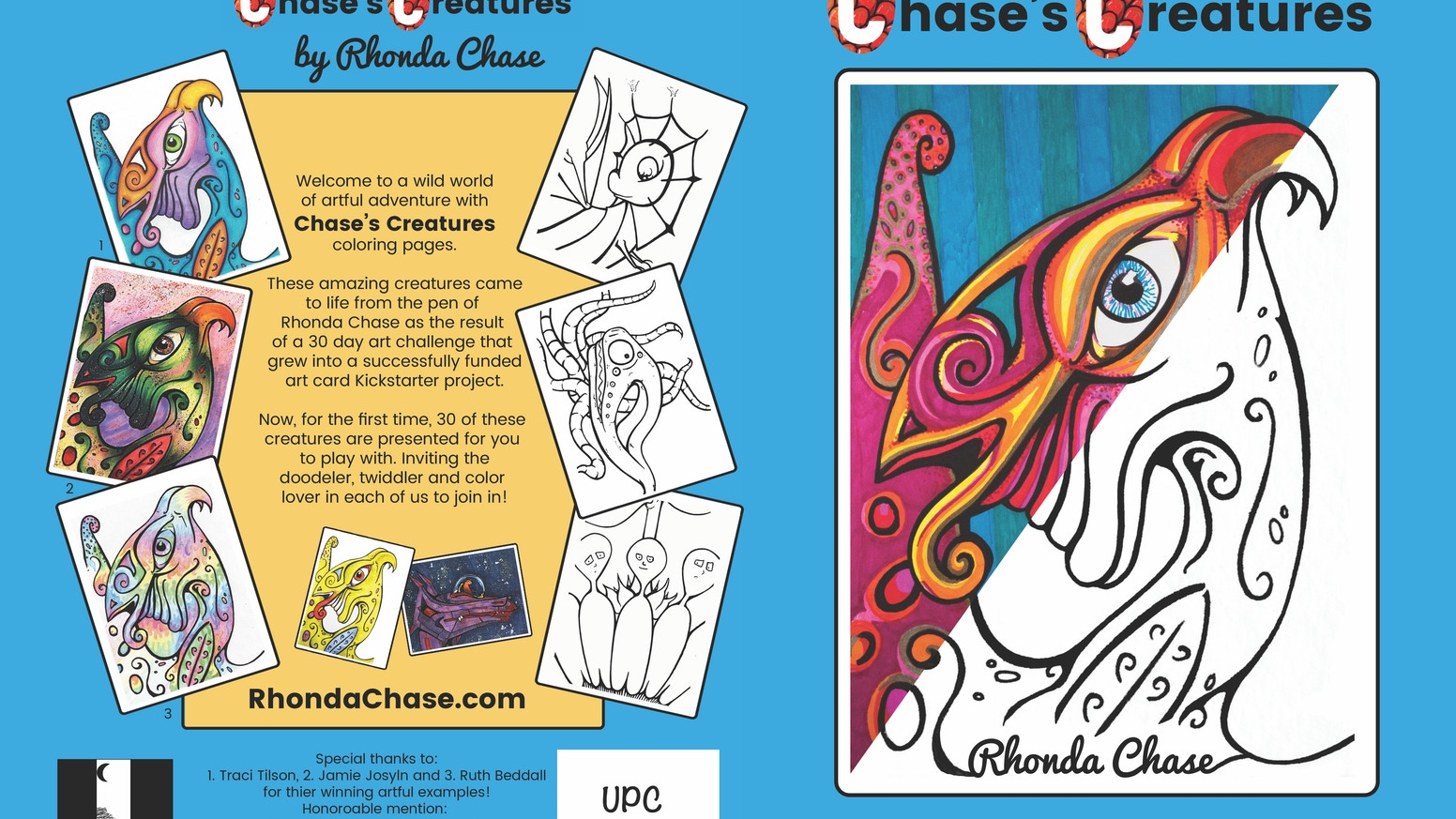 Color your way through the whimsical world of Chase's Creatures in the first ever coloring pages book by Rhonda Chase