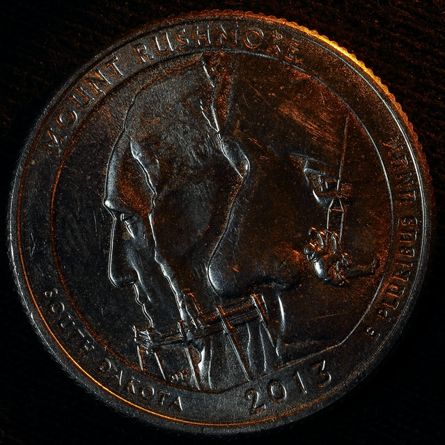 A coin photographed by Craig Ruff using his Adaptalux